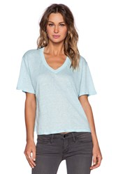 Heather Linen V Neck Top Blue