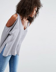 Asos Oversized Satin T Shirt With Cold Shoulder Silver Grey