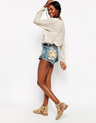 The Laundry Room Cut Off Shorts With Tiger Pocket Graphic Joshuatree