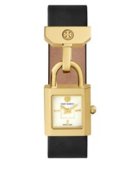 Tory Burch The Surrey Goldtone Stainless Steel Rectangular Lock Leather Cuff Watch Black