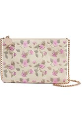 Red Valentino Redvalentino Embroidered Faux Leather Shoulder Bag Ecru