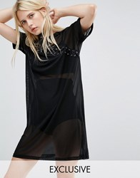 Story Of Lola T Shirt Dress With Lace Up Detail In Mesh Black