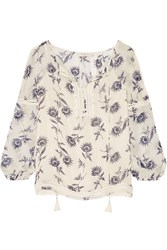 Tory Burch Guipure Lace Trimmed Printed Silk Georgette Blouse Ivory