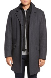 Marc New York Men's By Andrew Truro Inset Bib Pressed Wool Blend Topcoat Charcoal