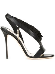 Olgana Pleat Trim Stiletto Sandals Black