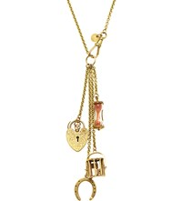 Annina Vogel 9Ct Yellow Gold Horseshoe Dice And Sand Timer Long Signature Charm Necklace