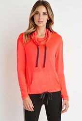 Forever 21 Perforated Funnel Neck Pullover Bisou Grey