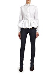 Alexis Mabille Shirt In White Ribbed Cotton With Corolla Basque