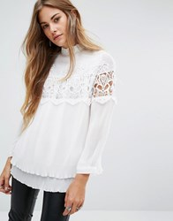 Navy London High Neck Voluminous Blouse With Pleat And Lace Details White