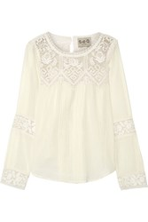 Sea Crochet Trimmed Cotton Gauze Blouse Cream
