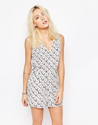Influence Tie Front V Neck Playsuit Multi