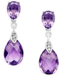 Macy's Amethyst 4 1 2 Ct. T.W. And Diamond Accent Drop Earrings In 14K White Gold