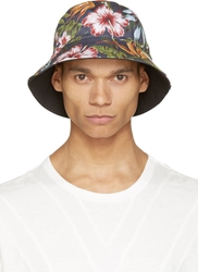 Y 3 Navy Floral Bucket Hat