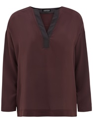 Jaeger Essential Long Sleeve Silk Top Chocolate