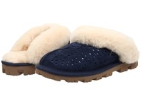 Ugg Coquette Flora Perf Navy Water Resistant Suede Women's Slip On Shoes