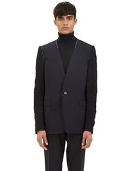 Lanvin Deconstructed Inside Out Sleeved Blazer Jacket Black
