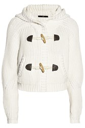 Tibi Cropped Cotton Cardigan White