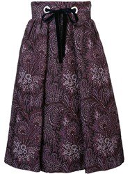 Suno Drawstring Paisley Print Skirt Pink And Purple