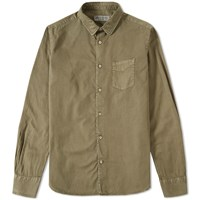 Officine Generale Pigment Dyed Twill Shirt Green