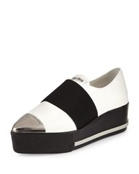 Miu Miu Metallic Cap Toe Leather Sneaker White Bianco