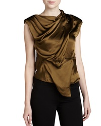 Donna Karan Sleeveless Draped Top Brass