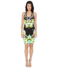 Just Cavalli Fitted Printed Jersey Tank Dress Leo Giraffe Print Black