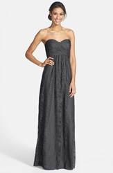 Women's Amsale Pleated Lace Sweetheart Gown Pewter
