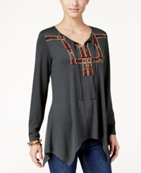 Styleandco. Style Co. Embroidered Handkerchief Hem Top Only At Macy's Green
