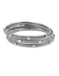 Diane Von Furstenberg Summer Disco Circle Chain Bangle Bracelet Set Silver