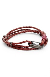 Ted Baker Men's London Brains Braided Leather Wrap Bracelet Dark Red