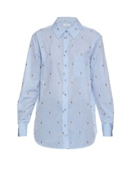 Equipment Kenton Pineapple Embroidered Cotton Shirt Blue
