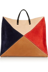 Clare V. Simple Color Block Leather And Suede Tote