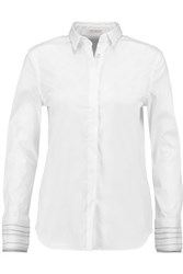 Brunello Cucinelli Embellished Cotton Blend Crepe Shirt White