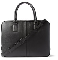 Tod's Dual Compartment Cross Grain Leather Briefcase Black