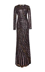 Zuhair Murad Long Mermaid Fully Embroidered Dress With Lace Cut Out Metallic
