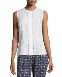 Laundry By Shelli Segal Sleeveless Cotton Eyelet Blouse Optic White