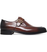 Tom Ford Tudor Leather Monk Shoes Brown