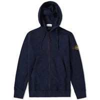 Stone Island Garment Dyed Heavyweight Zip Hoody Blue