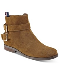 Tommy Hilfiger Julie Ankle Booties Women's Shoes Cognac Suede