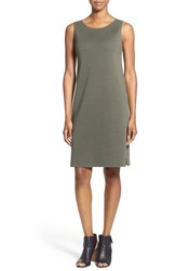 Women's Eileen Fisher Silk And Organic Cotton Bateau Neck Dress Oregano