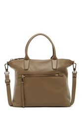 Abro Zip Pocket Suede Leather Tote Beige