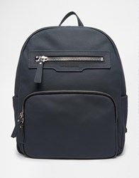 Smith And Canova Zip Leather Backpack Gray