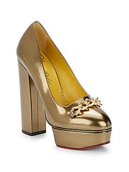 Charlotte Olympia Agate Metallic Leather Platform Pumps Medium Yellow