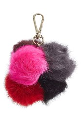 Diane Von Furstenberg Rabbit Fur Keychain Red