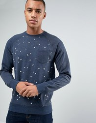 Esprit Sweat With Raglan Sleeve And All Over Print Detail Navy 400