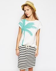 People Tree Organic Cotton T Shirt With Palm Tree Print Turquoise