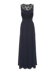 Biba Lace And Pleated Maxi Dress Navy