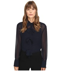 See By Chloe Georgette Blouse With Bow Detailing Navy