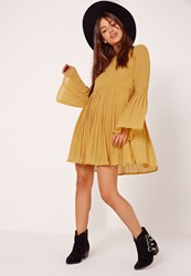 Missguided Long Sleeve Pleated Swing Dress Mustard Yellow