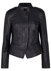 Tory Burch Midnight Blue Leather Jacket Navy